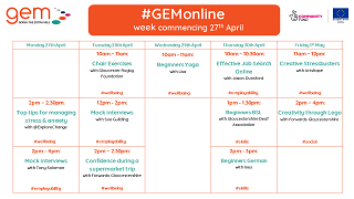 New week = New Skills: Our #GEMonline timetable for week commencing 27th April is now available!