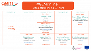 #GEMonline Timetable for week commencing 13th April - Designed for ALL to take part in